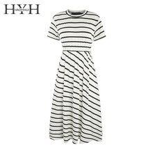 HYH Haoyihui Femme Summer Stylish Simple Ruili Casual Round Neck Short Sleeve Striped Show Thin Slim Waist Long T-shirt Dress stylish short sleeve striped buttoned shirt for boys