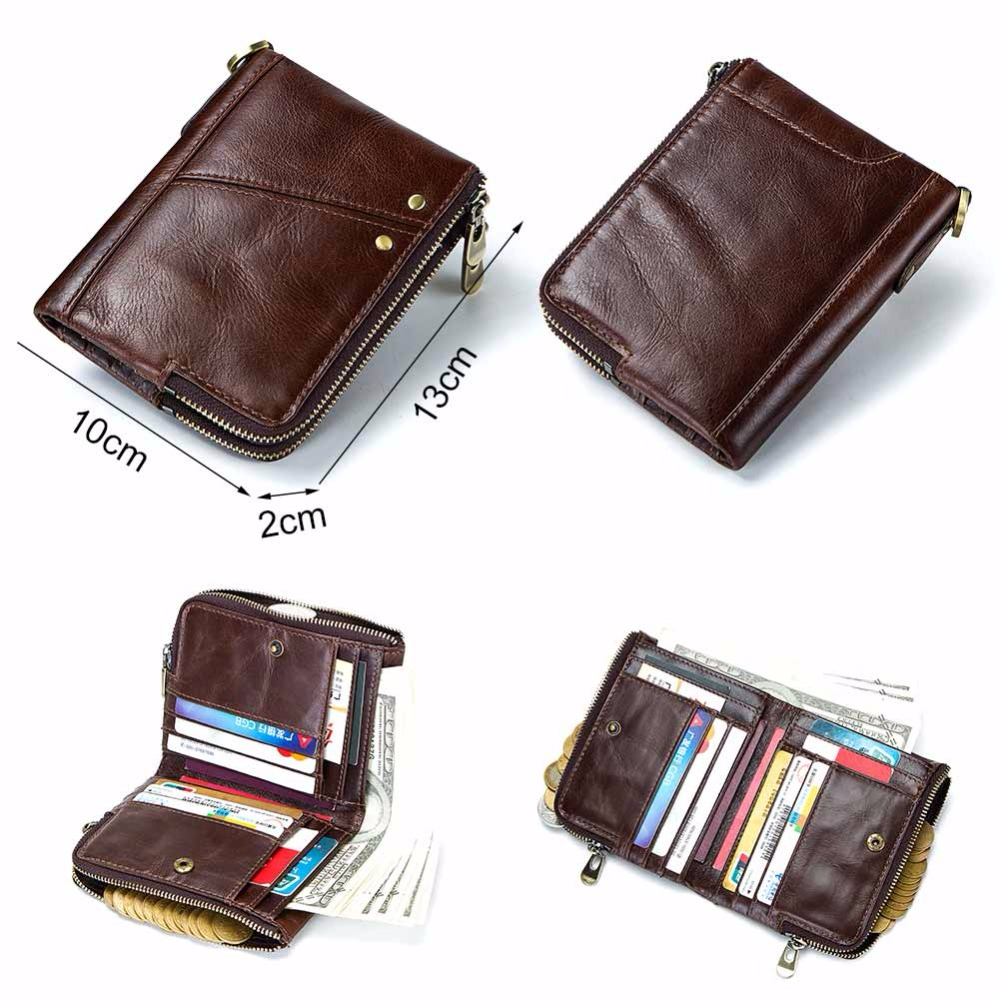 GZCZ Brand Genuine Cowhide Leather Men Wallets Card Holder Mini With Double Zipper Coin Purse Pocket Portomonee Rfid Small Walet