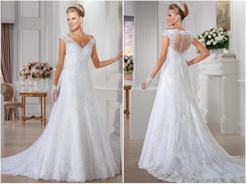 Long Lace Wedding Dress With Chapel Train Short Sleeves