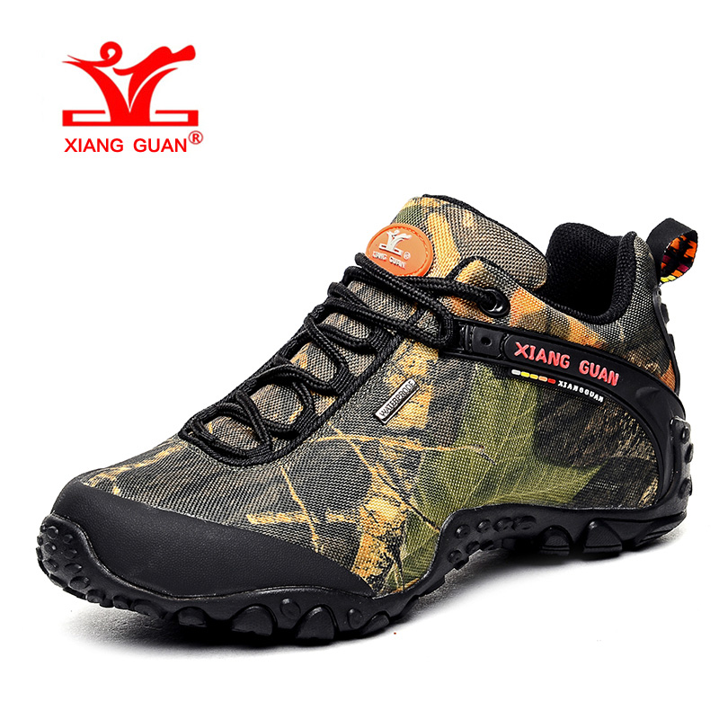 XIANG GUAN Man Hiking Shoes Men Waterproof Trekking Boots Army Green Zapatillas Sports Climbing Shoe Outdoor Walking Sneakers 2016 man women s brand hiking shoes climbing outdoor waterproof river trekking shoes