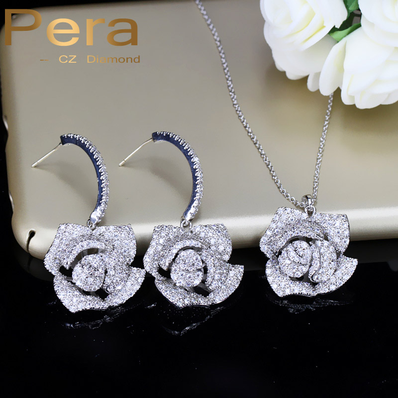 Pera Romantic Rose Flower Earrings And Necklace Big Bridal Wedding Party Cubic Zirconia Jewelry Sets Lovely Gift For Brides J197 цена