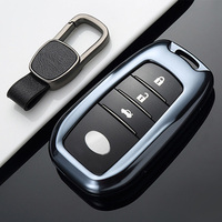 1pc FUWAYDA Aluminum Alloy Deluxe Car Key Case Shell Cover with Belt Storage Bag Protector for Toyota Reiz Corolla Camry Crown