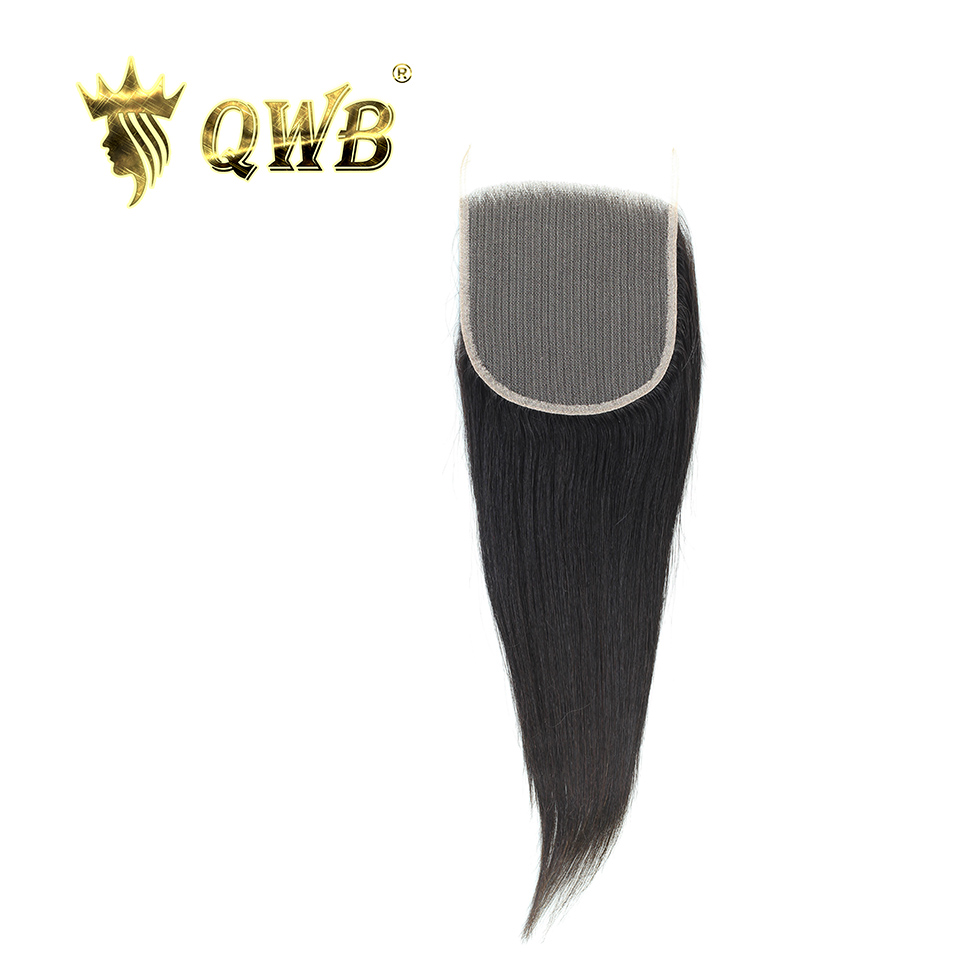 QWB Brazilian Lace Closure Virgin-Hair Brown Beauty Queen Straight Weave 5x5 16''/18'' title=