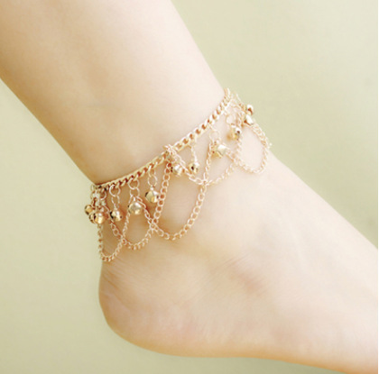 Gold Tone Bells Ankle Bracelet Barefoot Sandals Anklets for Women Foot Jewelry Anklet CA044