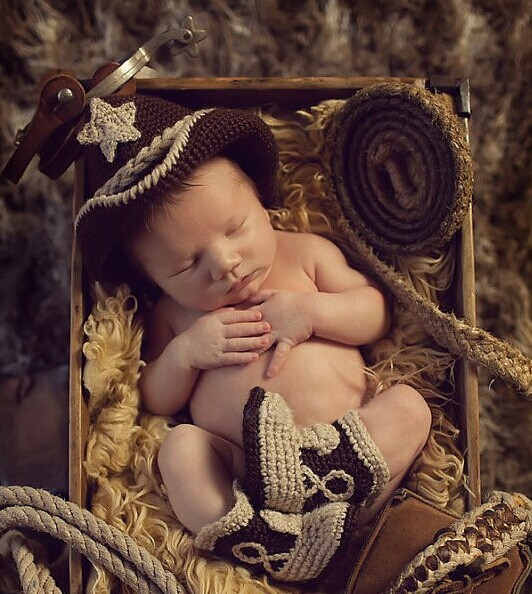 Crochet Baby Cowboy Hat and Boots Set Newborn Fotografia Photo Props Handmade Knitted Toldder Cow Boy Hat and Bootie ...