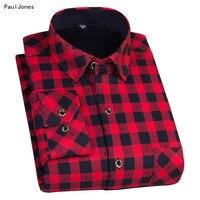 Mens Plaid Thermal Shirts Long Sleeve Super Warm Checkered Shirts Camisa Xadrez Masculina Chemise Carreaux Camisa