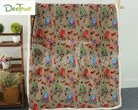 Double Layer Thick Coral Fleece Sherpa Plush Wool TV Sofa Gift Owl Design Cartoon Soft Blanket Throw Blanket 130x160cm