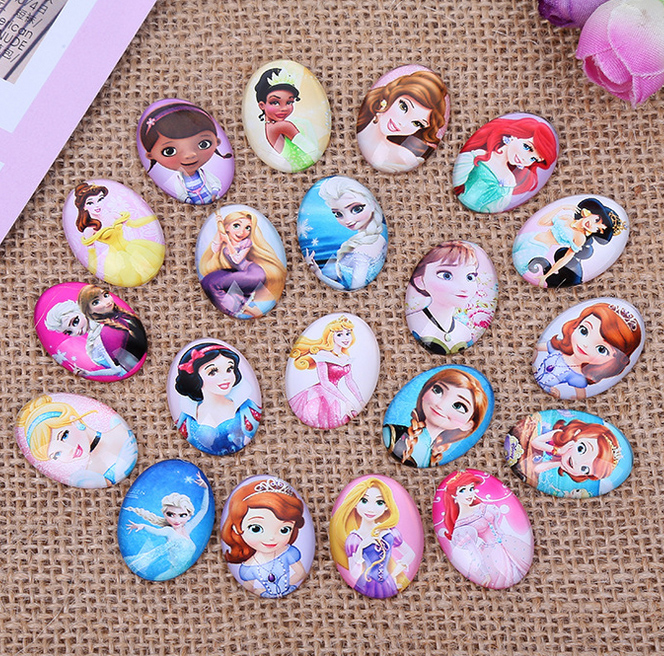 10*14mm 13*18mm 18*25mm Beautiful Cartoon Princess Oval Glass Cabochons Dome For Jewelry Making DIY Findings