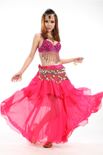 3 Rows Skirt Hand made Belly dance Costume Set With SEXY Shining Bra Indian Style Dance Clothes 3PCS Skirt+Top +Belt