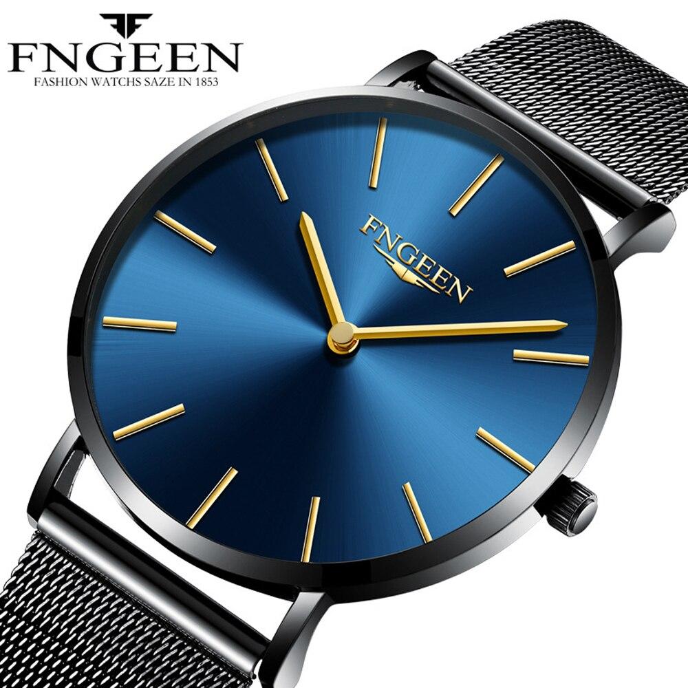 FNGEEN Watch Female Hour 2018 Fashion Ultra Slim Steel Mesh Quartz Watch Women Clock Hodinky Simple Business Black Women's Watch 1