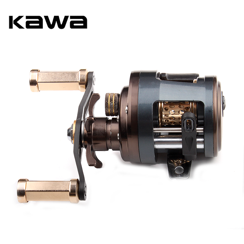 KAWA Metal Fishing Reel Drum Wheel Bait Casting Trolling Lure Reel 11+1 Bearings Metal Cover Alloy Spool Carbon Handle