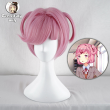 Anime DDLC Doki Literature Club Natsuki Pink Short Wig Cosplay Costume Women Heat Resistant Synthetic Hair Party Wigs
