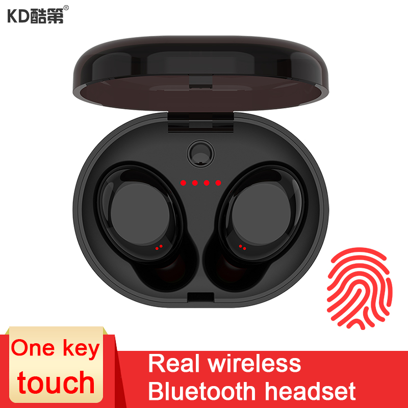 цены KD Mini separate wireless Bluetooth earphone in-ear stereo microphone headset with Portable power Box charge for iPhone XIAOMI