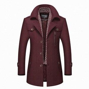 Image 5 - Bolubao masculino casaco de lã de inverno moda masculina gola virada para baixo quente mistura de lã grossa casaco de ervilha masculino trench coat