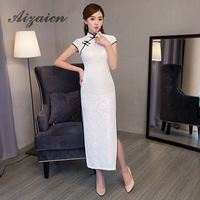 Fashion White Cheongsam Long Qipao Sexy Chinese Traditional Dresses Vintage Evening Dress China Clothing Store Vestido Chino