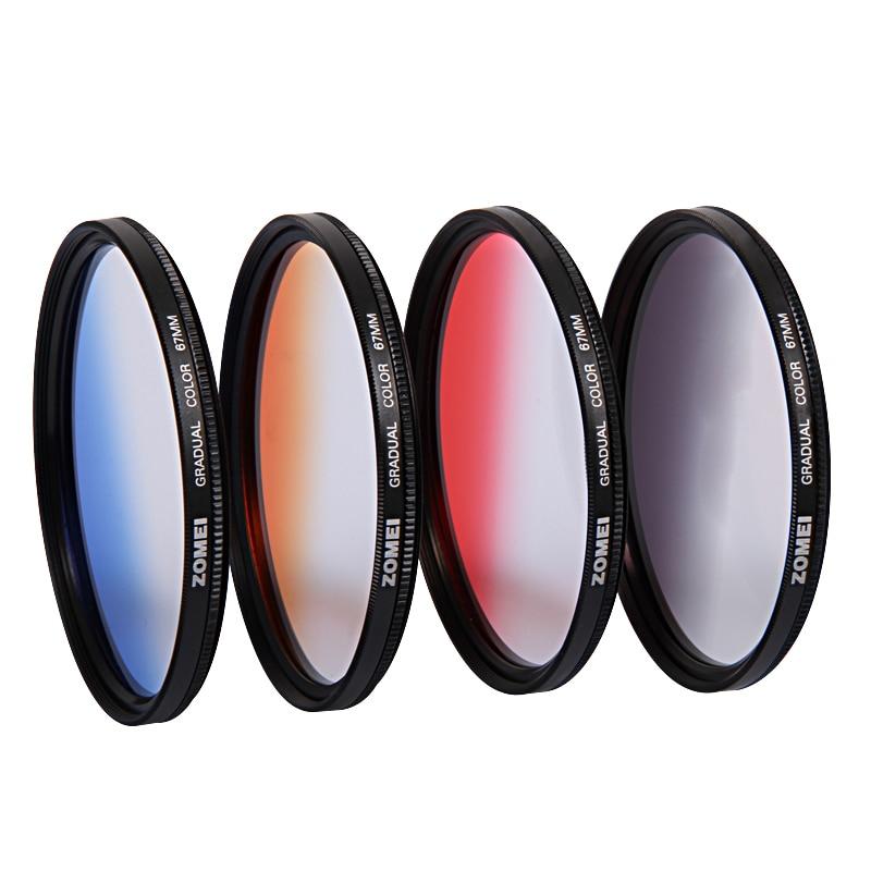 Zomei professionnel 67mm rouge bleu Orange gris couleur dégradé ND Kits de filtre protecteur d'objectif pour appareil photo Canon Sony