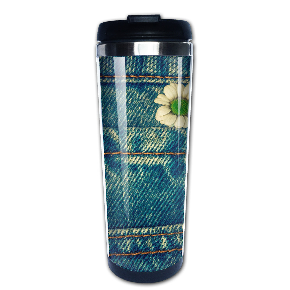 Jeans fabric coffee mug gift car tazas stainless steel tumbler caneca tea Cups