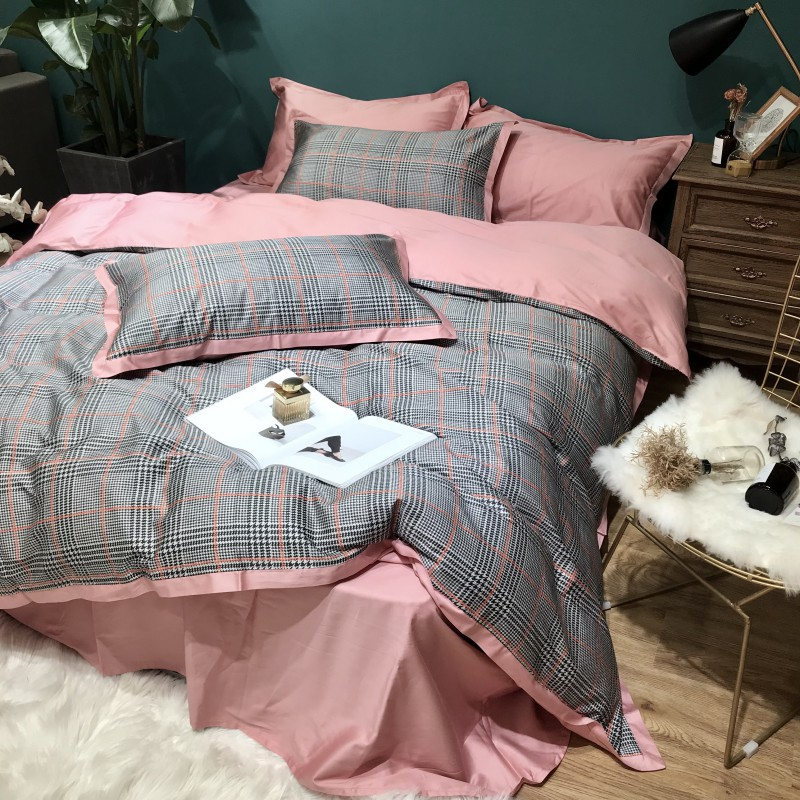 60S Египетский хлопковый клетчатый Комплект постельного белья, 4 шт., Королевский размер, Шелковый домашний комплект постельного белья из хло... - 3