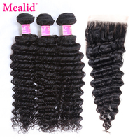 Mealid Brazilian Deep Wave Hair Weave Bundles With Closure Remy Human Hair 3 4 Bundles With Closure 8 28inch Hair Extension