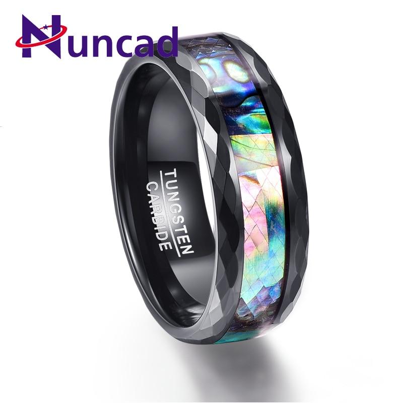 7d653729dc86 Nuncad 8mm hombres de concha de abulón y pulido negro facetado anillos de  carburo de tungsteno de bandas de boda compromiso anillo Tamaño 7 -12