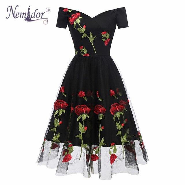 Nemidor 2019 Hot Sales Women Vintage Embroidery Mesh A-line Swing Dresses Sexy Off The Shoulder Midi Party Elegant Summer Dress