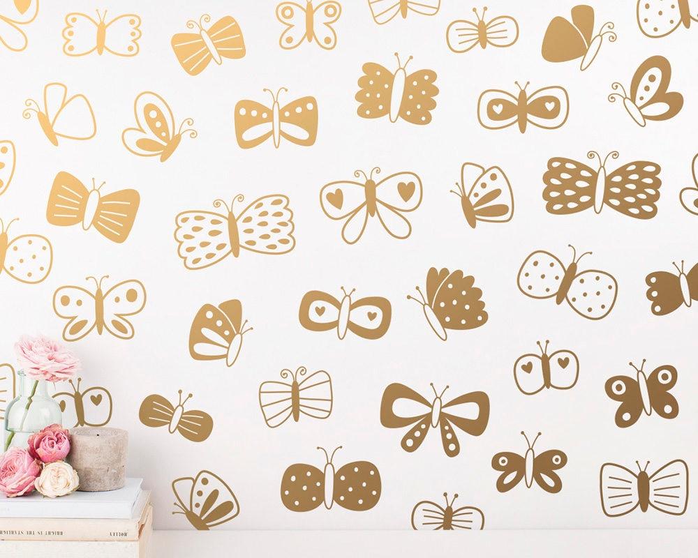 Gold Butterfly Wall Decals Kids Girls Room Wall Decor Beautiful ...