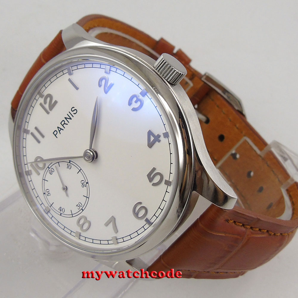 44mm parnis white dial silver marks hand winding 6497 movement mens watch P28B цена и фото