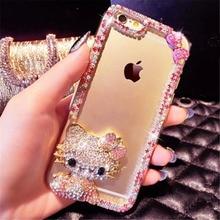 For iPhone 6 6S 7 8 Plus X Cute Cat Bear Swan bling rhinestones diamond Glitter phone case soft Rubber Transparent back cover