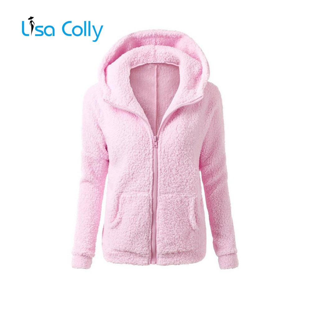 Lisa Colly Plus Size 5XL Women Autumn Winter Fleece   Jacket   Long Sleeves Zip Warm Coat Overcoat With Hooded Women   Basic     Jacket