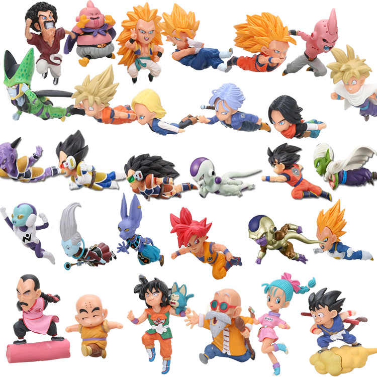 Dragon ball z wcf voando e correndo filho goku bulma krillin android no.18 troncos celular gotenks buu beerus pvc figuras brinquedos conjunto