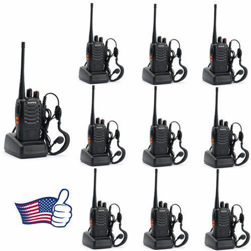 10pcs Baofeng BF-888S 400-470MHz 5W CTCSS Dual-Band Two-way Ham Radio Walkie Talkie Transceiver Bf888s 1500mAh Li-ion Battery