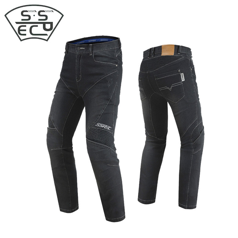 2018 New SSPEC Motorcycle Jeans Pants Men Women Drop Resistance Slim Denim Cycling Racing Pants Motocross Off-road Hockey Pants high quality designer jeans off white winter new mens wear mill wear striped rose embroidery denim pants men jeans jogger pants