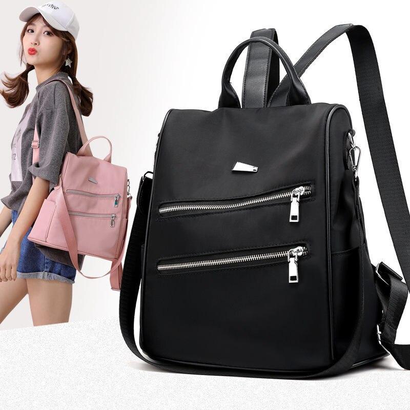 Ladies Teen Backpack School Backpack Brand Zipper Solid Nylon Pink Vintage Teenage Backpacks For Girls Mochila Feminina Plecak in Backpacks from Luggage Bags