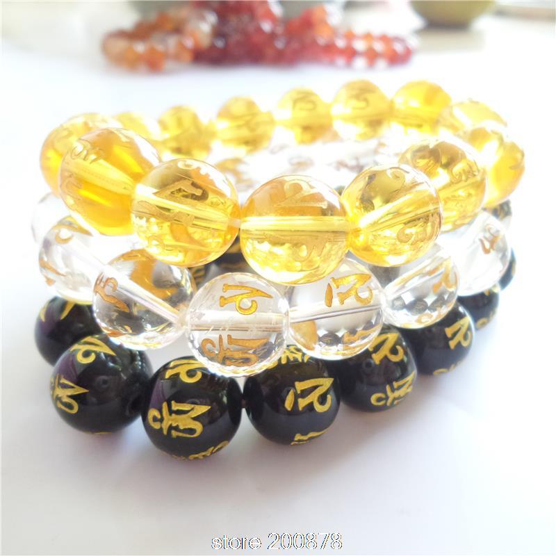 BB-188 Tibetan Mantras Bracelet 14mm Natural Crystal Carnelian Round Beaded Stretch bangles