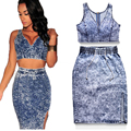 Sexy  Club 2016 Denim Dresses For Women Two Piece Club Women Dress 2 Piece Outfit Bodycon Dresses