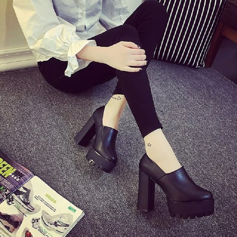 ФОТО  United States are thick with high heeled shoes spring 2017 new shallow mouth waterproof head low for all-match shoes