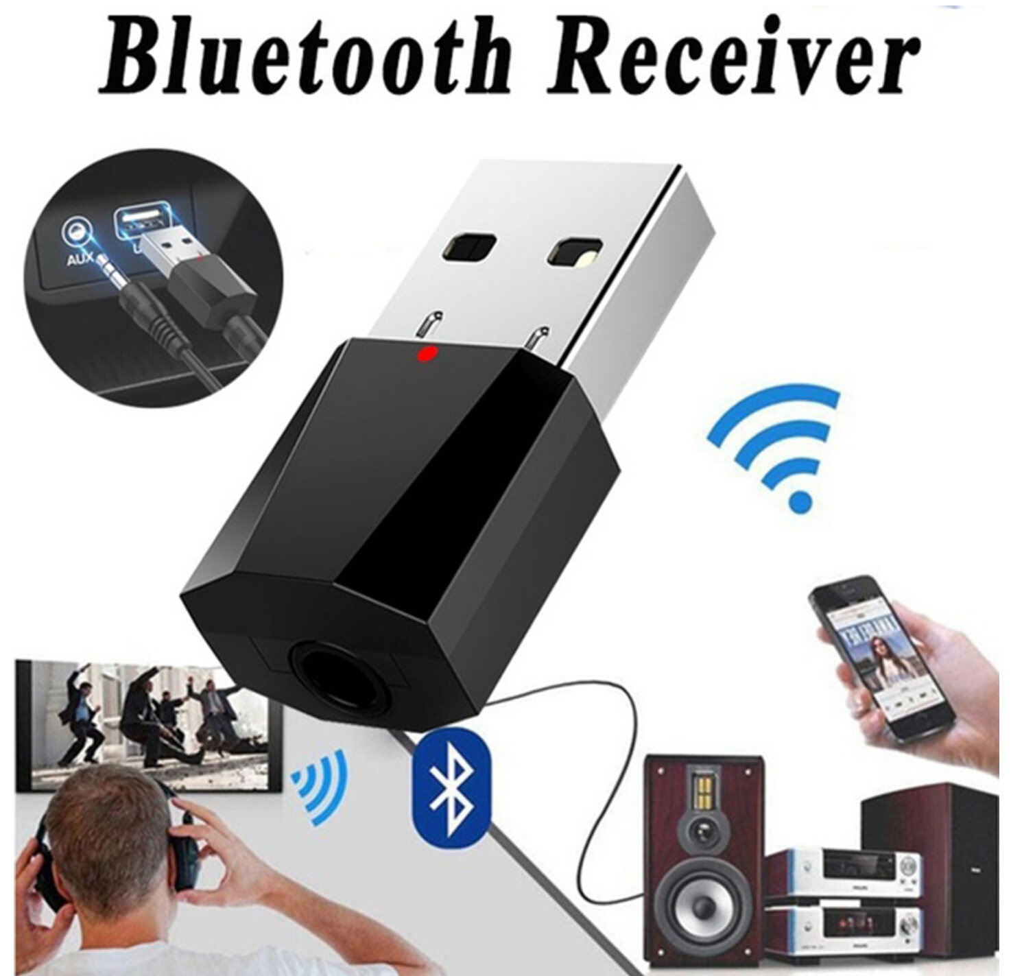 2019 new Wireless USB AUX Mini Bluetooth Receiver for lada granta kalina vesta priora largus 2110 niva 2107 2106 2109 vaz samara-in Car Tax Disc Holders from Automobiles & Motorcycles