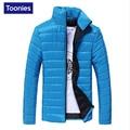 Jaqueta de inverno para Os Homens 2017 Moda Cor Sólida Para Baixo Casaco jaqueta de Gola de Algodão Fino Quente Zipper Casacos de Inverno dos homens parque