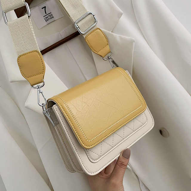 ETAILL Contrast Color PU Leather Crossbody Bags For Women 2019 Fashion Simple Shoulder Messenger Bag Ladies Cross Body Bag