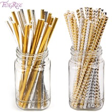 FENGRISE 25pcs Foil Gold Silver Paper Straws Wedding Favors Star Drinking Straws Birthday Party Decoration Kids