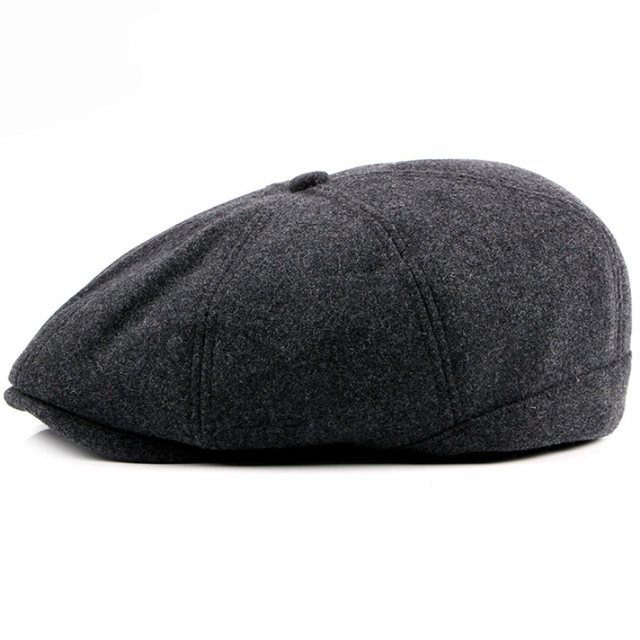 ebf69440bd5 HT1355 Winter Warm Wool Beret Caps Men Women Black Grey Flat Cabbie Driver  Ivy Caps High Quality Thicken Octagonal Newsboy Caps