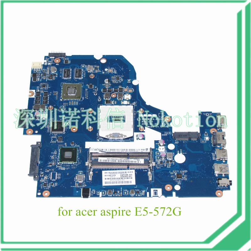 NOKOTION Z5WAW LA-B702P NBMQ011001 NB.MQ011.001 For acer aspire E5-572G nokotion for acer aspire 5750 laptop motherboard p5we0 la 6901p mainboard mbrcg02005 mb rcg02 005 mother board