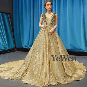 Image 2 - Luxe or robe de soirée longue robes de soirée a ligne robe de soirée musulmane Sexy robe formelle femmes élégante robe de bal YM20257
