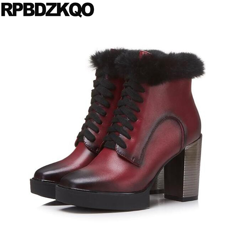 2017 Short Booties Lace Up Fetish Wine Red High Heel Winter Shoes Ankle Real Fur Chunky Quality Women Boots Pointed Toe Genuine