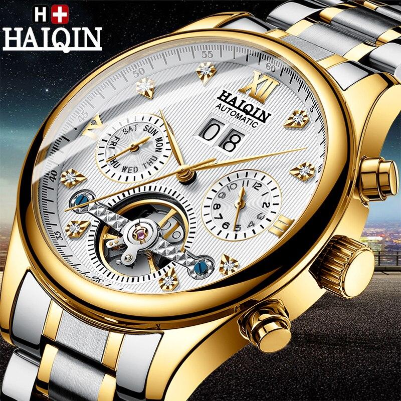 De los hombres relojes HAIQIN superior de la marca de lujo de reloj mecánico automático de los hombres impermeable militar Tourbillon reloj Relogio Masculino