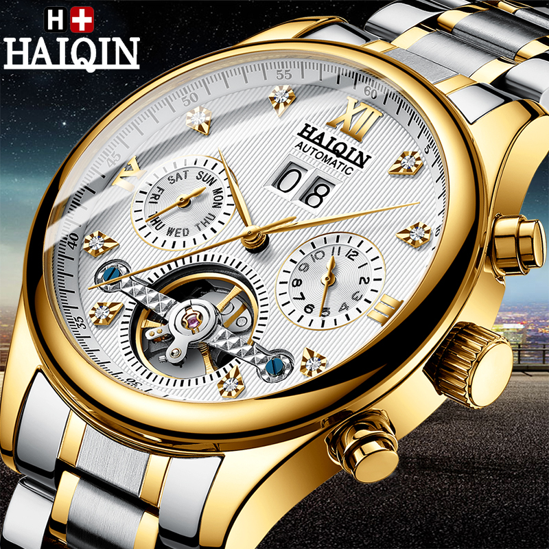 Mens Watches HAIQIN Top Brand Luxury Automatic Mechanical Watch Men Military Waterproof Tourbillon Clock Relogio Masculino     Mens Watches HAIQIN Top Brand Luxury Automatic Mechanical Watch Men Military Waterproof Tourbillon Clock Relogio Masculino
