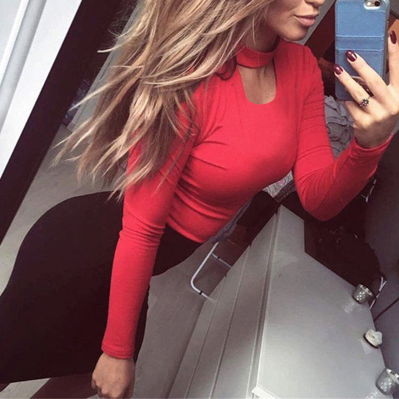 Long Sleeve Ladies Sexy Bodysuit Fitness Bodycon Jumpsuits For Women 2018 Summer Choker Rompers Elegant Playsuit Body Suit Femme
