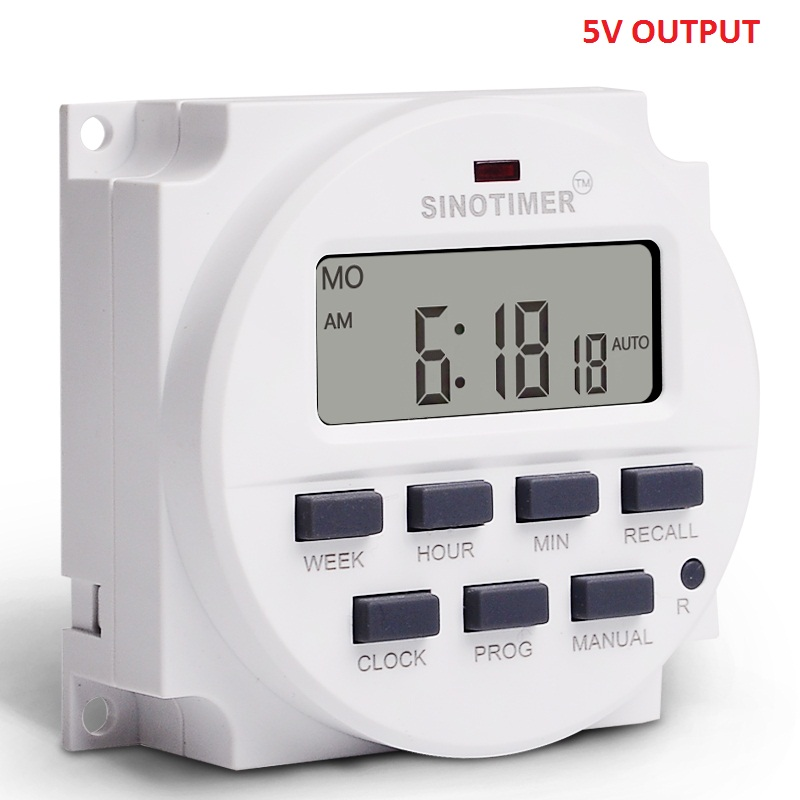 Sinotimer 5V Power Supply 7 Days Weekly Programmable Digital Electronic Lighting Daily Timer