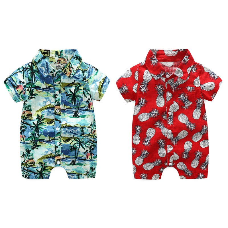 2018 Summer Hot Sale Baby Boy Casual Jumpsuit Newborn Kids Beach Printed Short Sleeve Clothes New-arrival Fashion Clothing LQ