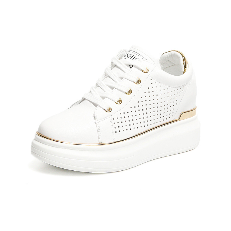Summer White Sneakers Shoes Woman Ladies Casual Shoes Hidden Wedge Heels Women's Wedges Platform Sneakers Shoes For Women ladies casual platform wedges oxford shoes for women metallic pu cut outs women high heels summer brogue oxfords shoes woman